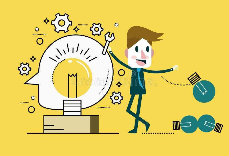 De gloeilamp van zakenmanChange Het concept van ideeën vector illustratie