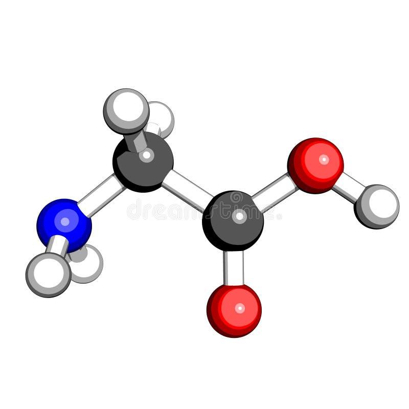 De glycinestructuur van het aminozuur stock illustratie