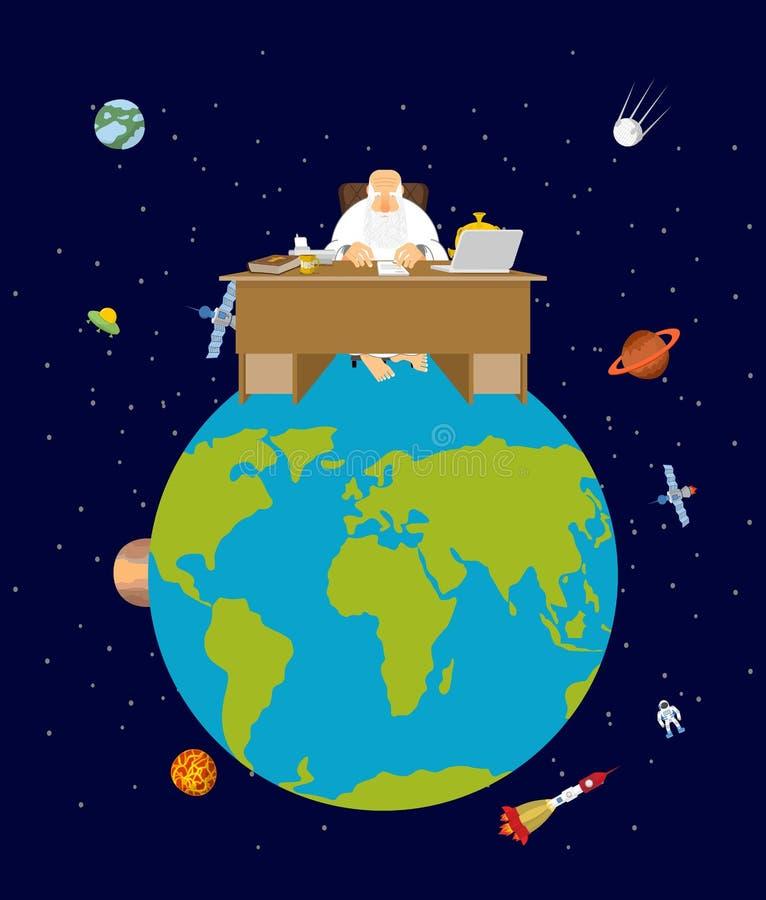 De god is chef- aarde directeur en Desktop Aarde in ruimte vector illustratie
