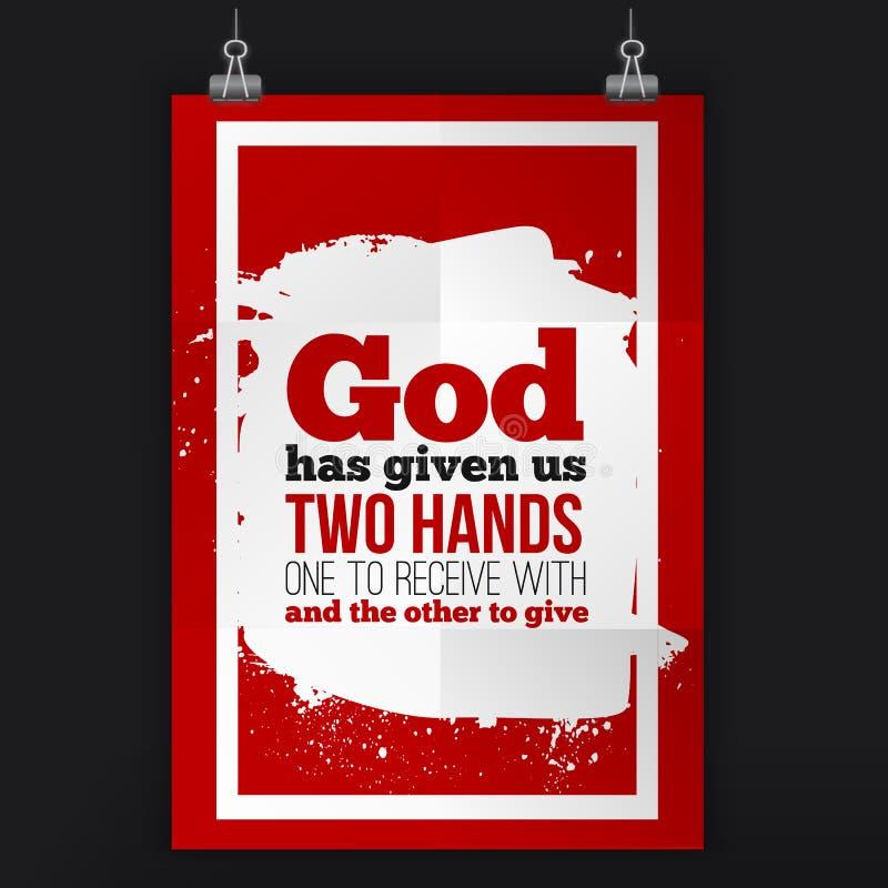 De god heeft ons twee handen gegeven Vector eenvoudig ontwerp Motiverend, positief citaat Affiche voor muur A4 grootte gemakkelij vector illustratie