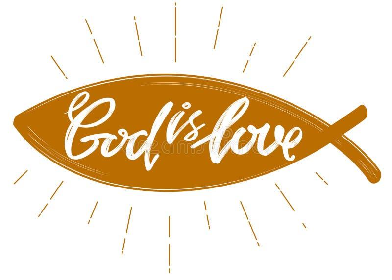 De god is liefde het citaat op de achtergrond van het hart, kalligrafisch tekstsymbool van Christendomhand getrokken vector royalty-vrije illustratie