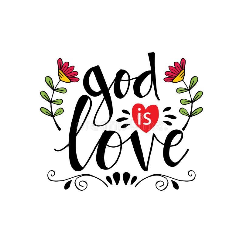 De god is Liefde het van letters voorzien stock illustratie