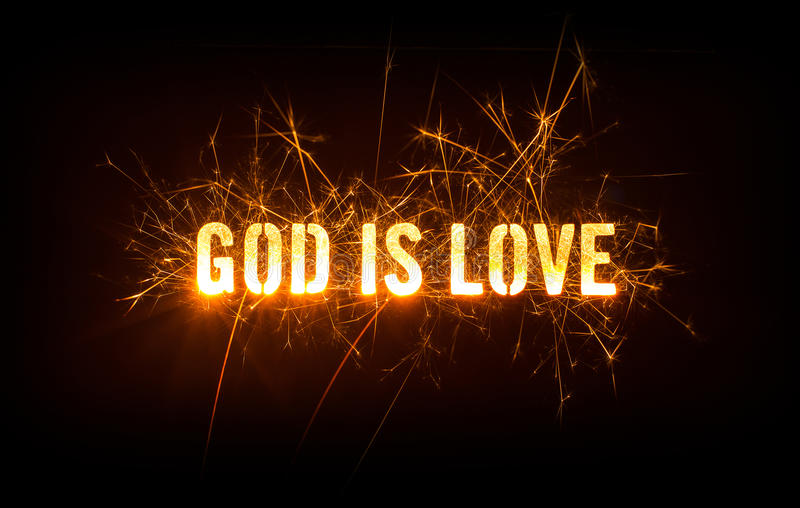 De god is Liefdetitel op donkere achtergrond royalty-vrije stock foto