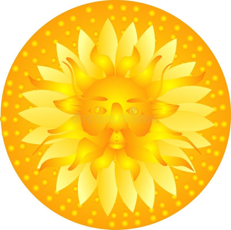 De god van de zon glanst neer op de aarde, illustratie.
