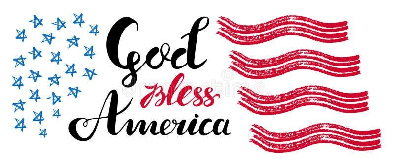 De god zegent het getrokken vector van letters voorzien van Amerika hand met sterren en strepen voor affiches, groetkaarten en We royalty-vrije illustratie