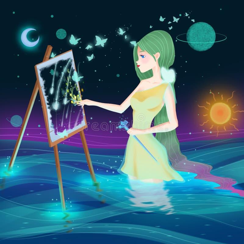 De Godinkunstenaar Girl Het Ontwerp van het vrouwenkarakter Conceptenart. vector illustratie
