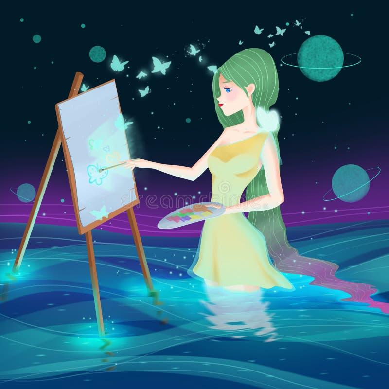 De Godinkunstenaar Girl Vrouw vector illustratie