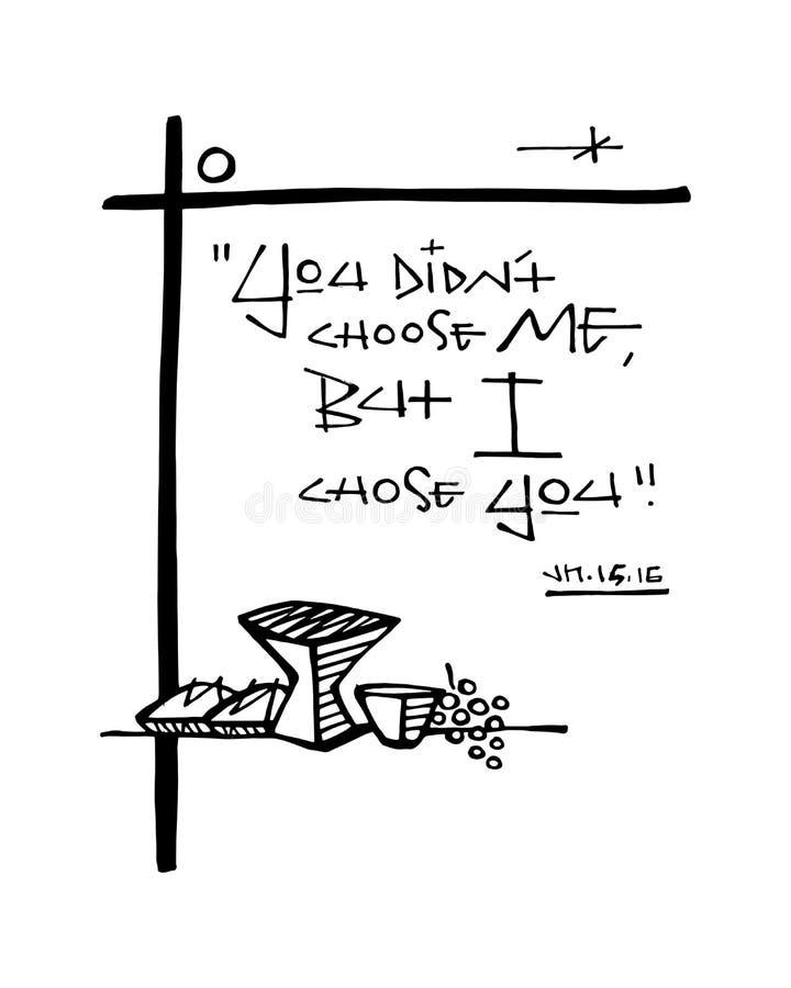 De godsdienstige christelijke illustratie van de uitdrukkingsinkt vector illustratie