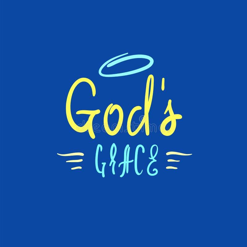 De godsdienstige gunst van de god - inspireer en motievencitaat Hand het getrokken mooie van letters voorzien royalty-vrije illustratie
