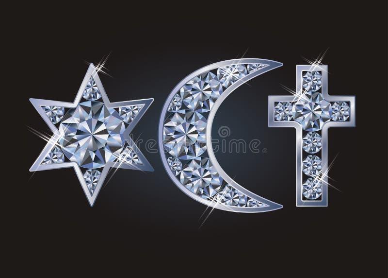 De godsdienstige ster van symbolen Joodse David ` s, Islamitisch toenemend, christelijk kruis royalty-vrije illustratie