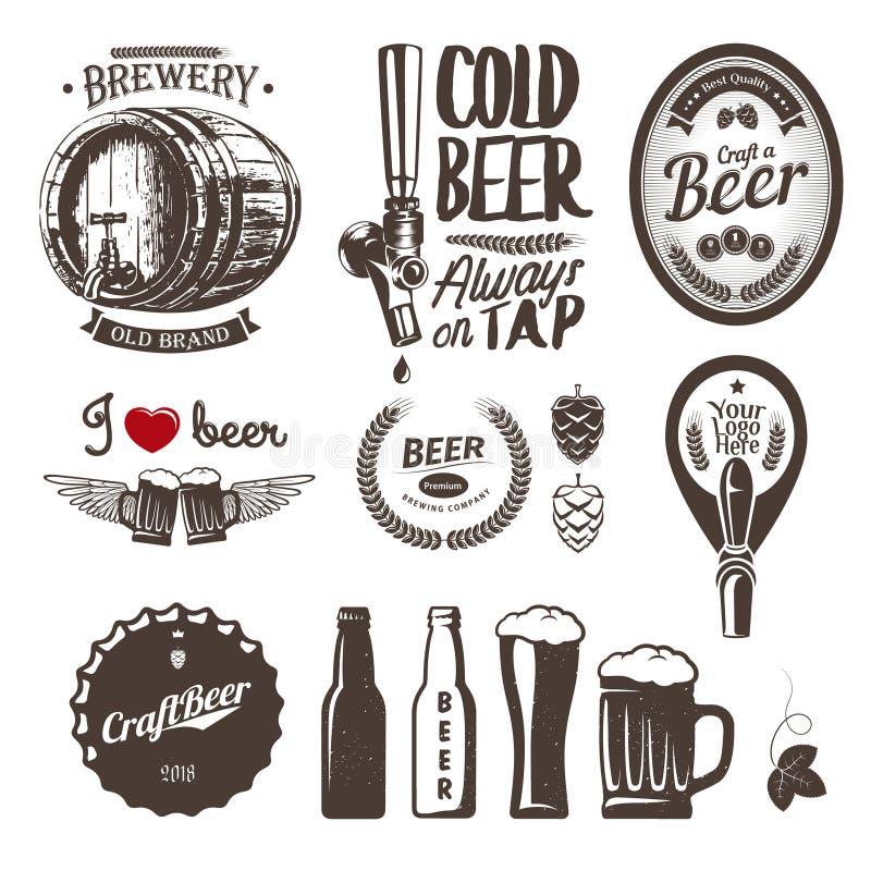 De goede de brouwerijetiketten van het ambachtbier, verzinnebeeldt en ontwerpelementenkraan, GLB, fles, mok, vat royalty-vrije illustratie