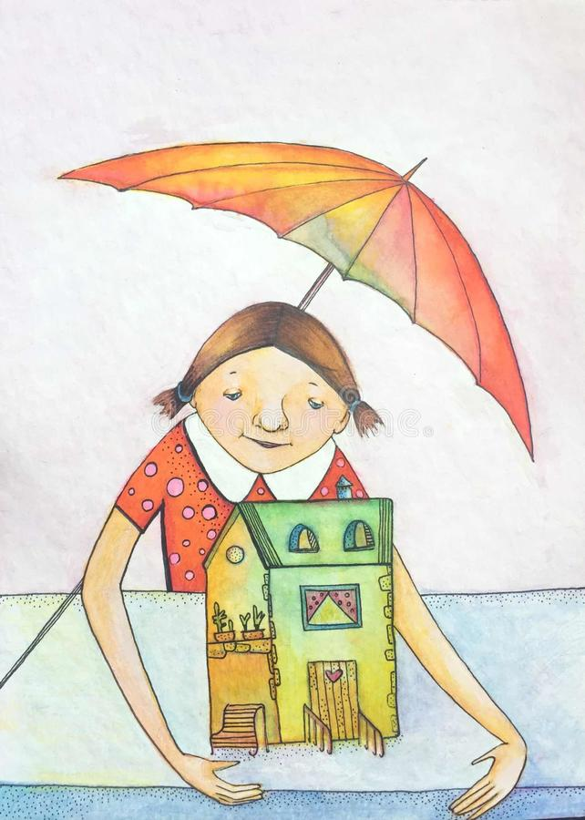 De goede meisjesengel beschermt het huis De illustratie van de waterverf Helder kleurenbeeld royalty-vrije stock foto