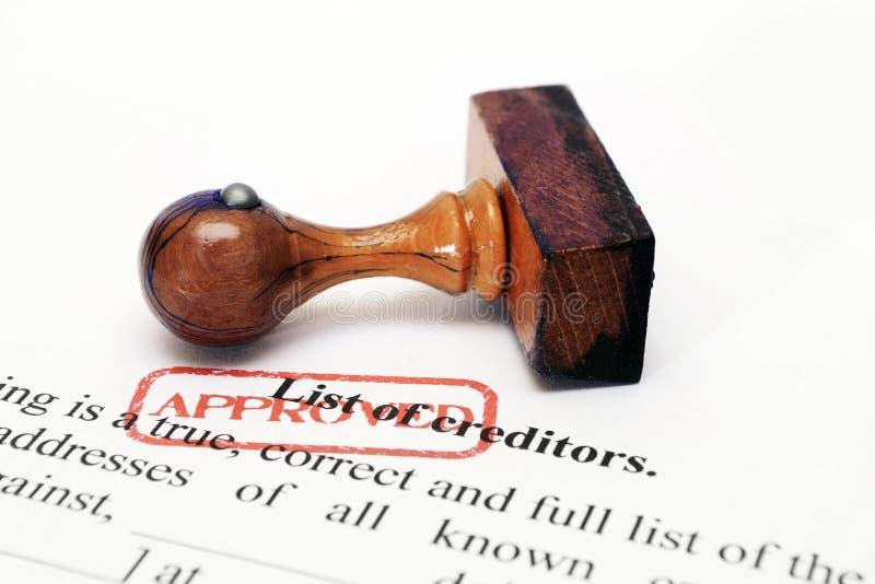 De goedgekeurde lijst van de crediteur - stock afbeeldingen