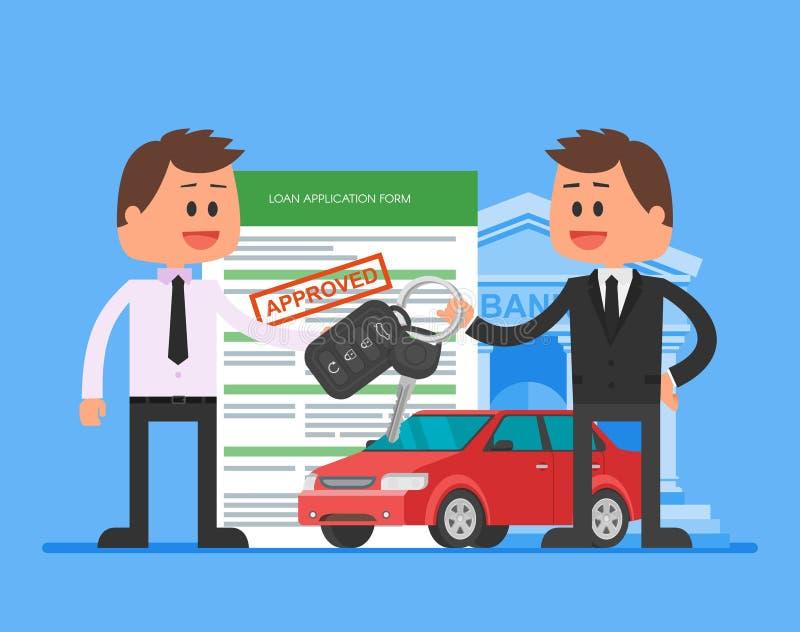 De goedgekeurde vectorillustratie van de autolening Het kopen automobiel concept De handelaar overhandigt sleutels aan gelukkige  vector illustratie