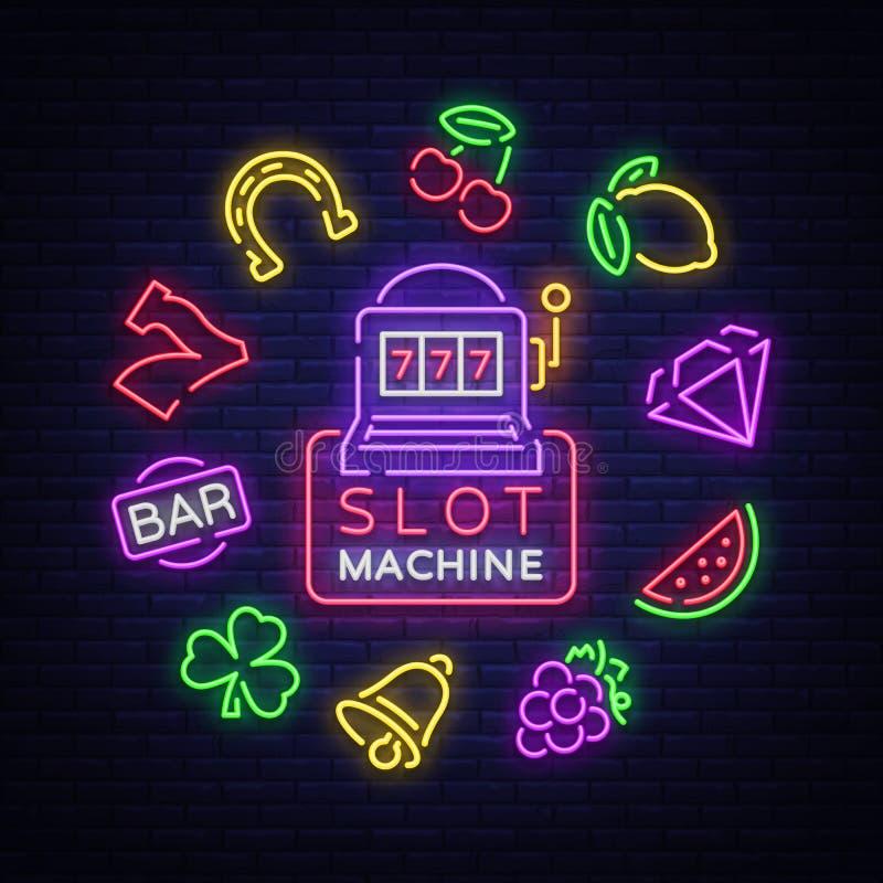 De gokautomaat is een neonteken Inzameling van neontekens voor een gokkenmachine Spelpictogrammen voor casino Vector illustratie royalty-vrije illustratie