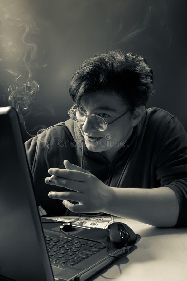 De gokker van vrouweninternet royalty-vrije stock foto's
