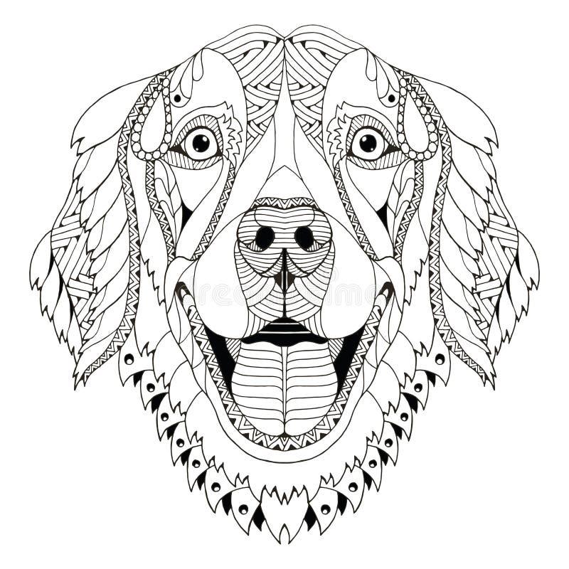 De golden retrieverhond zentangle stileerde hoofd, uit de vrije hand potlood, h stock illustratie