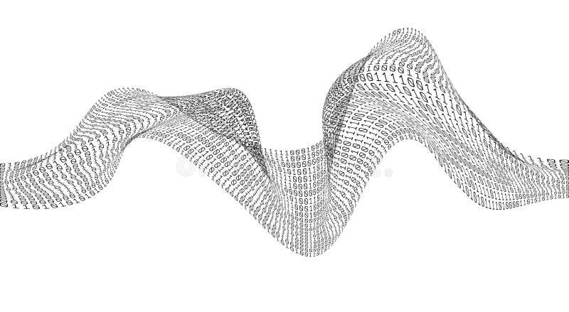 De golf van de binaire codechaos Digitale Technologie Gegevens het sorteren Kunstmatige intelligentie Grote Gegevens Slim systeem royalty-vrije illustratie