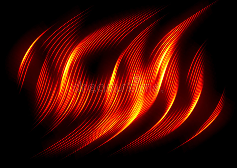 De golf van de brand op zwarte stock illustratie