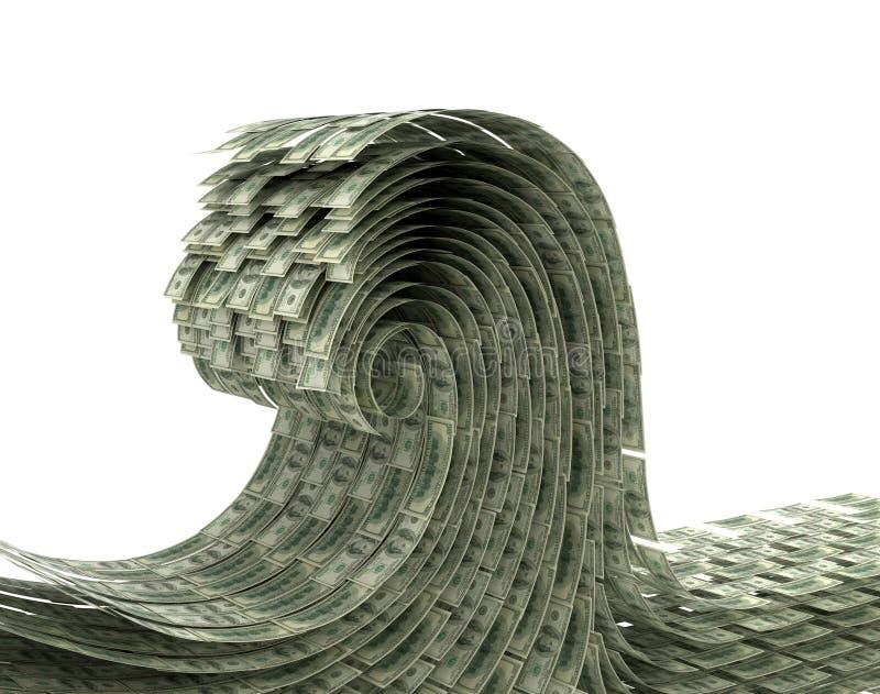 De golf van geld op een witte achtergrond stock illustratie