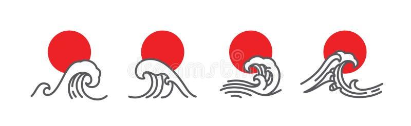 De golf van Japan en rode zon vectorillustratie royalty-vrije illustratie