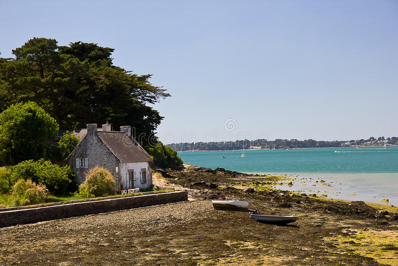 De Golf van Morbihan - vissershuis royalty-vrije stock fotografie