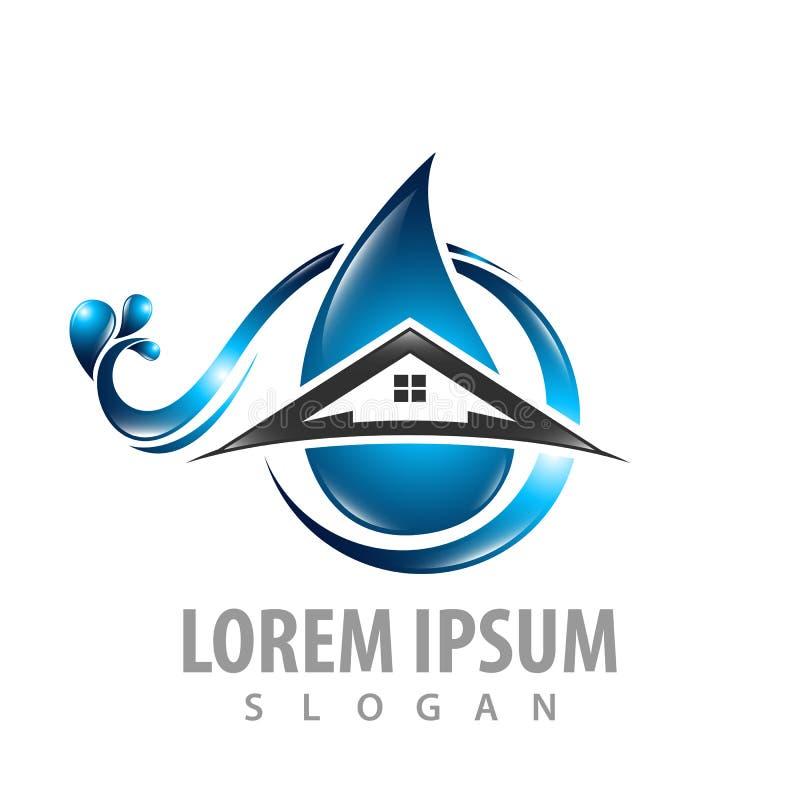 De golf van de waterdaling met huis het conceptontwerp van het de bouwembleem Het elementenvector van het symbool grafische malpl royalty-vrije illustratie