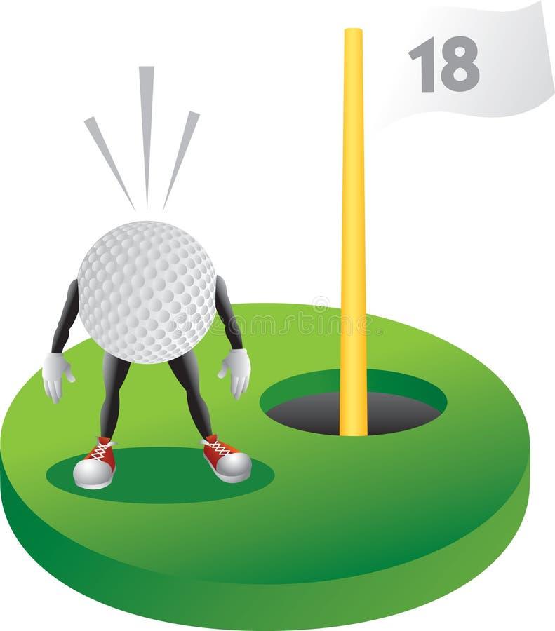 De golfbal van het beeldverhaal bij het laatste gat vector illustratie