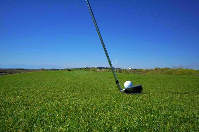 De golfcursus en de golfbal stock afbeelding