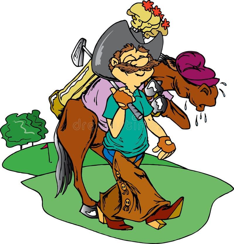 De Golfspeler van de cowboy stock illustratie
