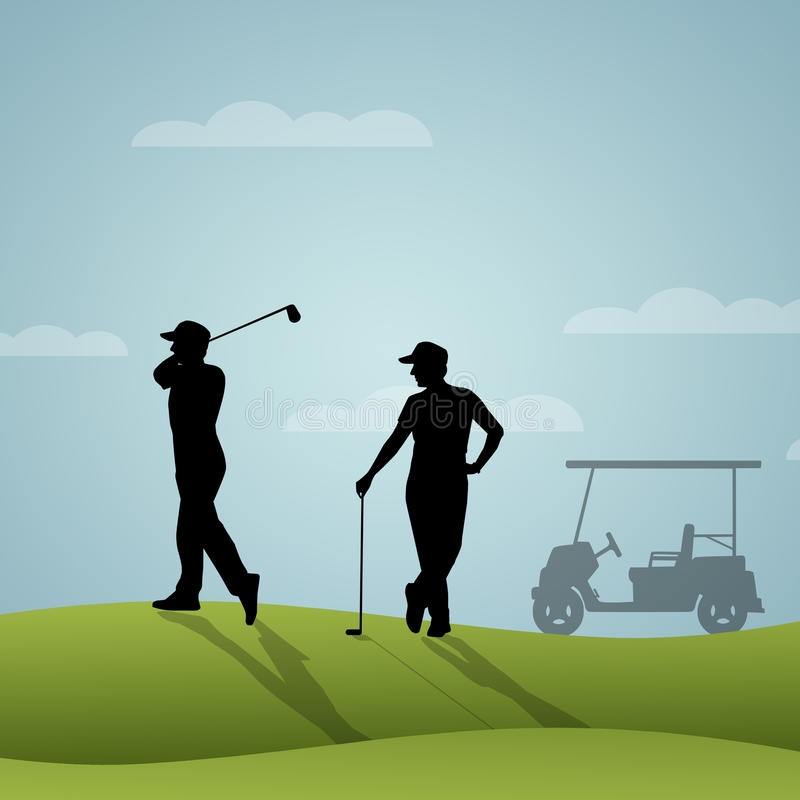 De golfspelers silhouetteren stock illustratie