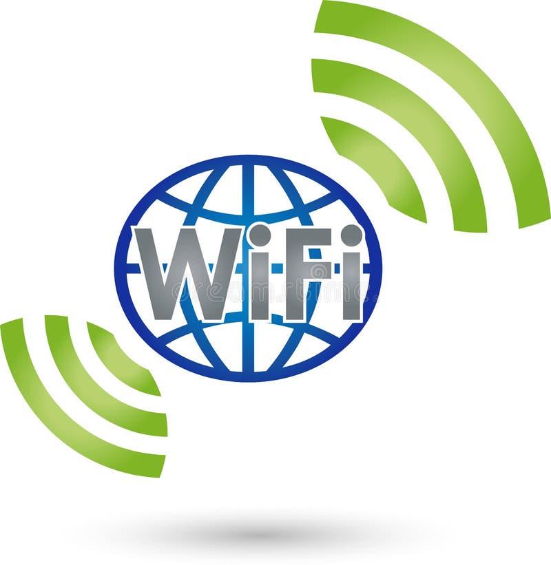 De golven en de bol van WiFi, Internet en WiFi-embleem stock illustratie