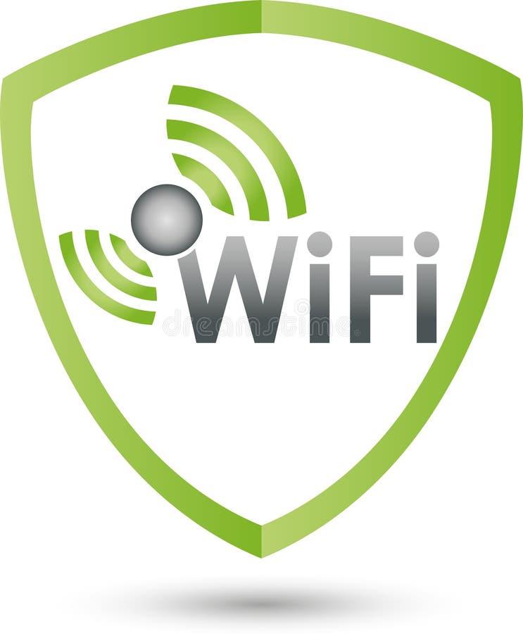De golven en het schild van WiFi, Internet en WiFi-embleem stock illustratie