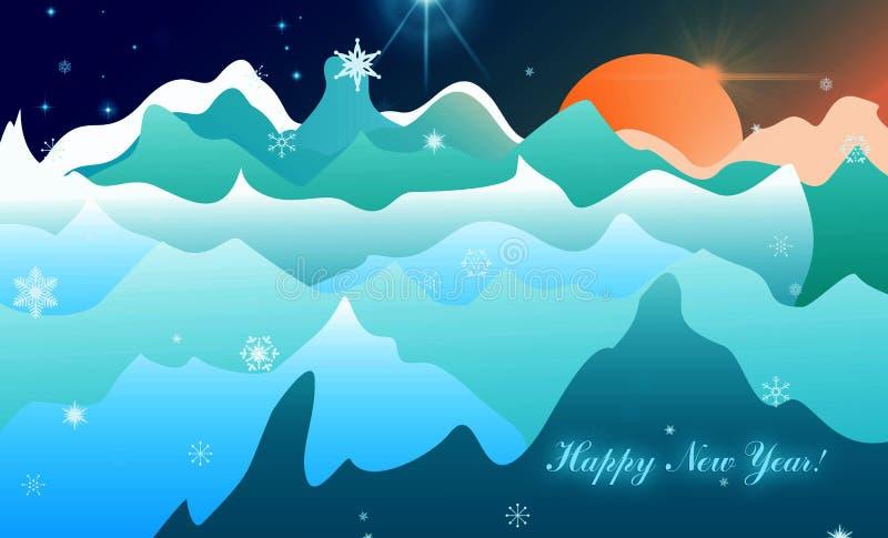 De golven van de prentbriefkaarberg, de zon en de sterrensneeuwvlokken Gelukkig Nieuwjaar vector illustratie