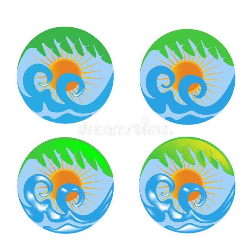 De golven van de zon en palmemblemen stock illustratie