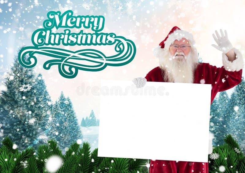 De golvende hand van de Kerstman terwijl het houden van een aanplakbiljet 3D stock afbeeldingen