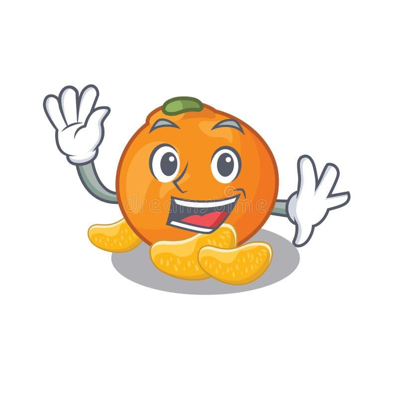 De golvende mandarijn wordt opgeslagen in beeldverhaalijskast vector illustratie