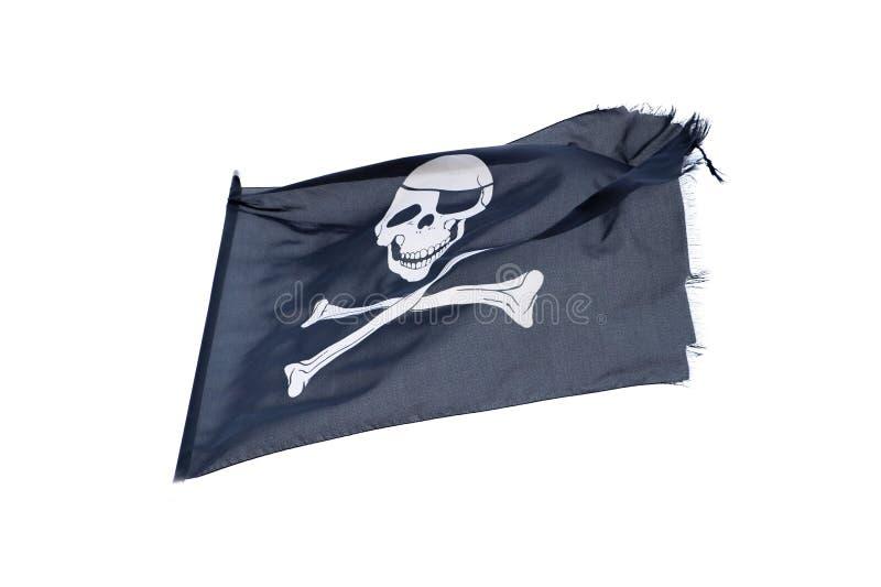 De golvende piraatvlag heel Roger isoleerde op wit stock afbeelding