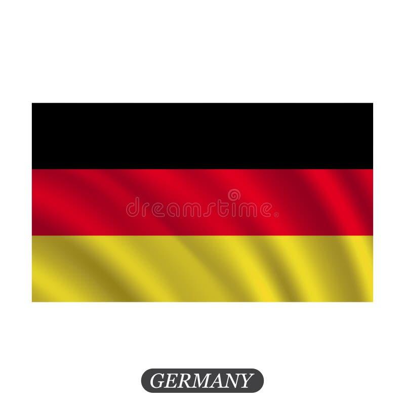 De golvende vlag van Duitsland op een witte achtergrond Vector illustratie stock illustratie