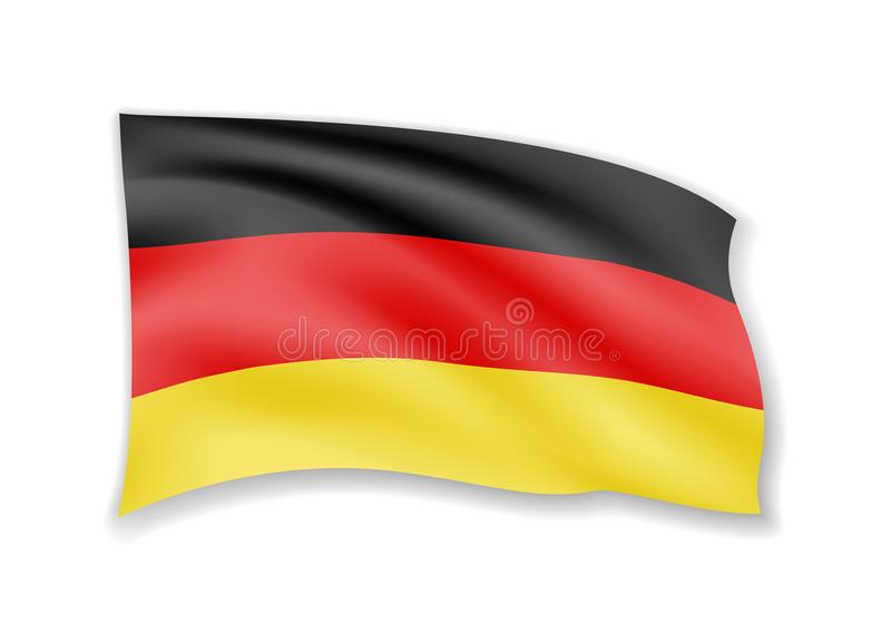 De golvende Vlag van Duitsland op wit Vlag in de wind vector illustratie