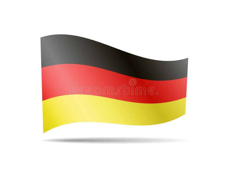 De golvende Vlag van Duitsland op wit Vlag in de wind stock illustratie