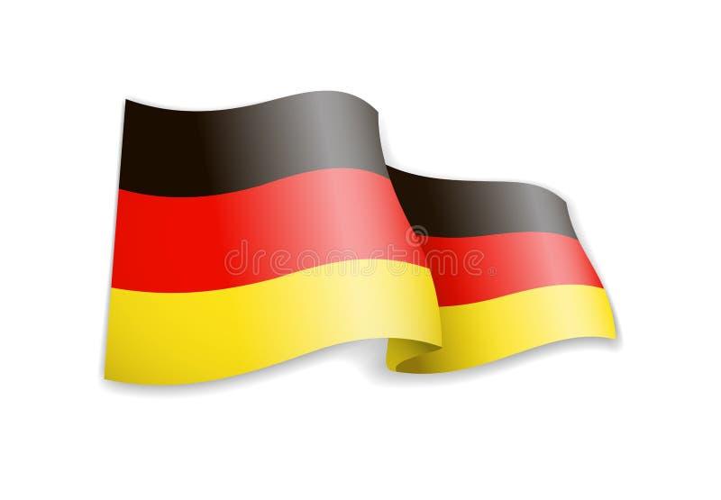 De golvende vlag van Duitsland op witte achtergrond royalty-vrije illustratie