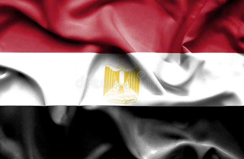 De golvende vlag van Egypte stock illustratie