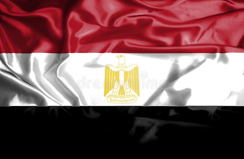 De golvende vlag van Egypte royalty-vrije illustratie