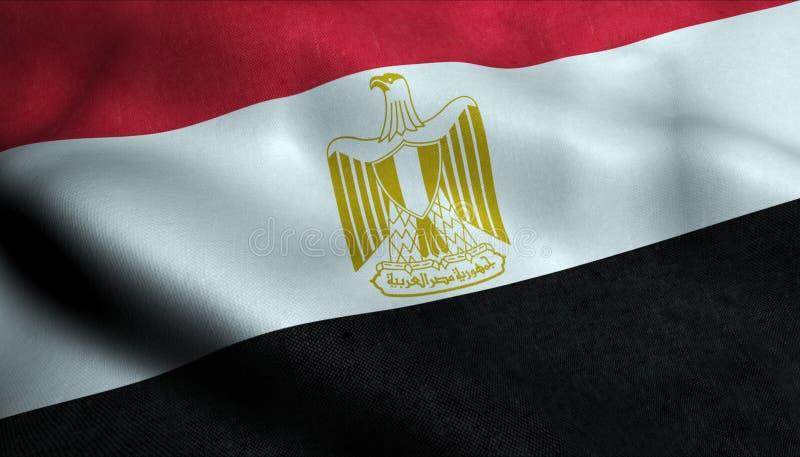 De Golvende Vlag van Egypte in 3D royalty-vrije illustratie