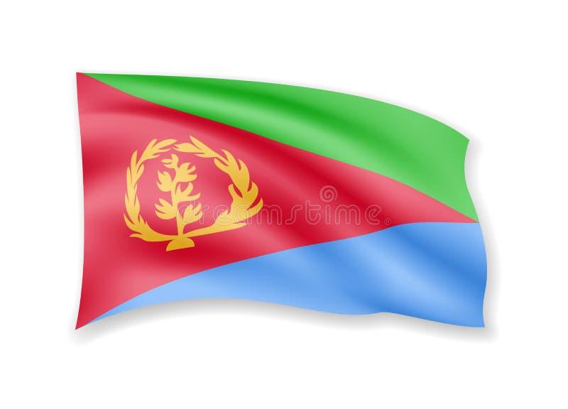 De golvende vlag van Eritrea op wit Vlag in de wind royalty-vrije stock foto's