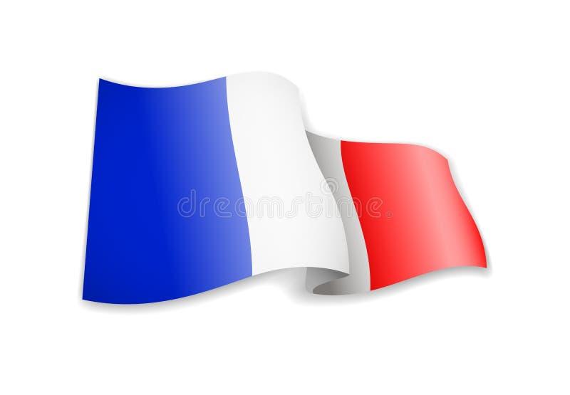 De golvende vlag van Frankrijk op witte achtergrond royalty-vrije stock foto's
