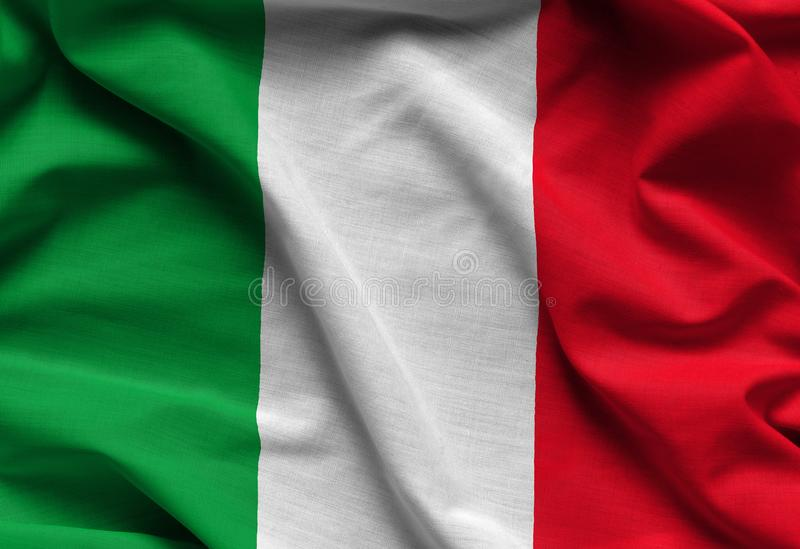 De golvende vlag van Italië stock afbeelding