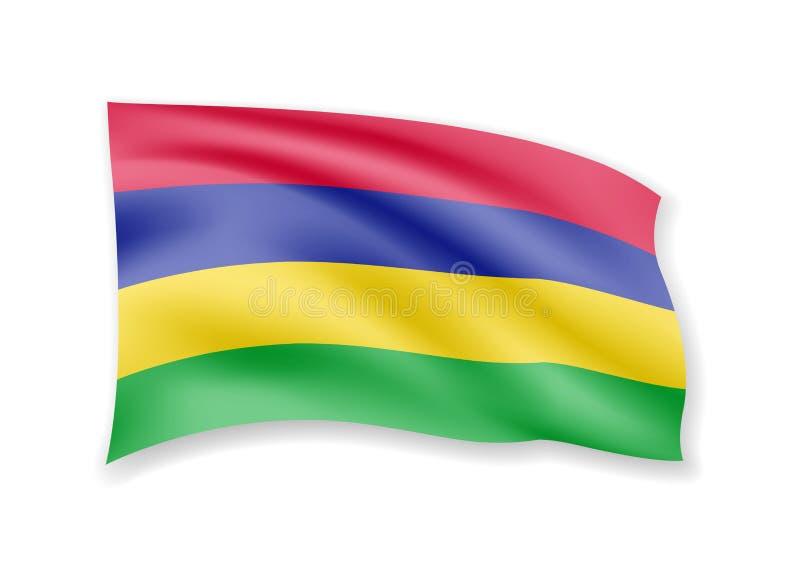 De golvende vlag van Mauritius op wit Vlag in de wind stock illustratie