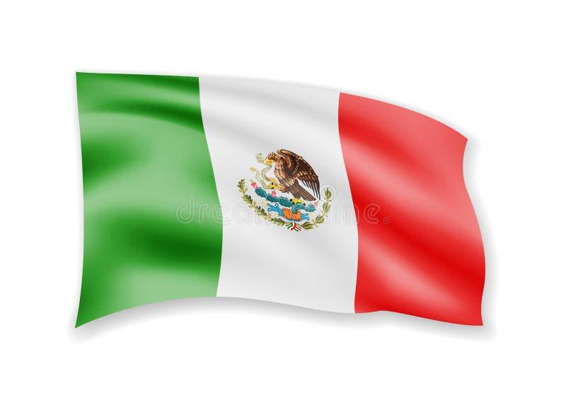 De golvende vlag van Mexico op wit Vlag in de wind stock illustratie